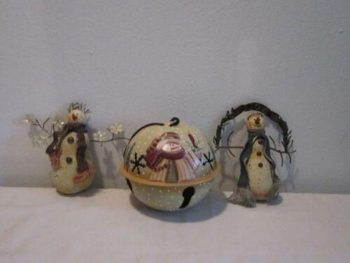 Lot of Three Primitive Snowman Ornaments