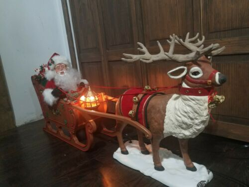 SEE VIDEO! Holiday Creation Santa On Sleigh Reindeer Animated Musical Christmas