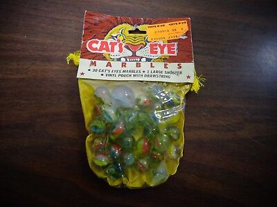 NWT Larami Vintage 30 cat's eye marbles & 1 large shooter & vinyl pouch