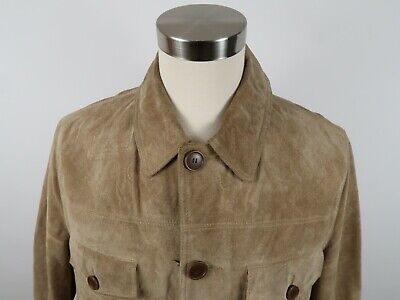 Express Leather Jacket Mens (Express Mens Genuine Leather Suede Long Sleeve Button Down Tan Coat Jacket)