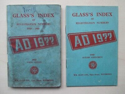 GLASS'S INDEX OF REGISTRATION NUMBERS - TWO - 1960 SPRING AND AUTUMN EDITIONS