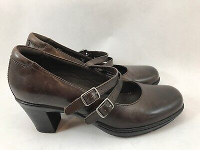 Clarks 2-Strap Mary Jane Pumps Womens Size 7m Brown Leather Slip-On Loafer