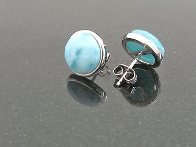Wholsale 3 Pairs Natural  Dominican 10mm Larimar 925 Sterling Silver Earrings