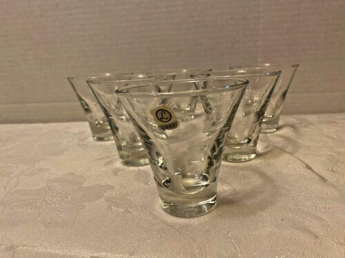 lot of 6 Vintage1955 Libbey Windsor Grey Cut Squares COCKTAIL MARTINI glasses