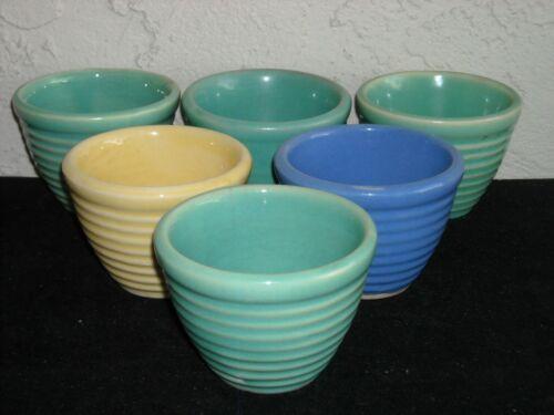 Set of 6 Vintage USA Pottery Custard Cups / Ramekins w/ Ring Pattern