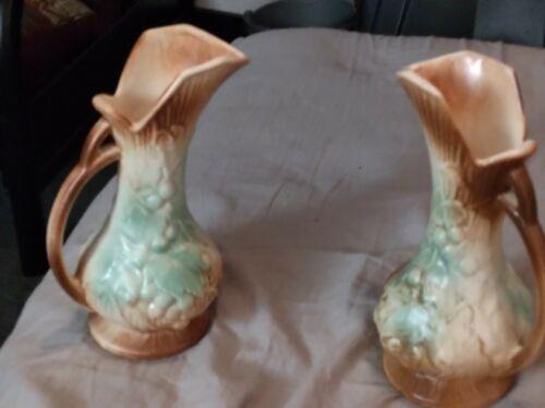 McCoy PAIR Vintage Ewer Pitcher Handled Vases - Grape Leaf Design - Great  - $0.99