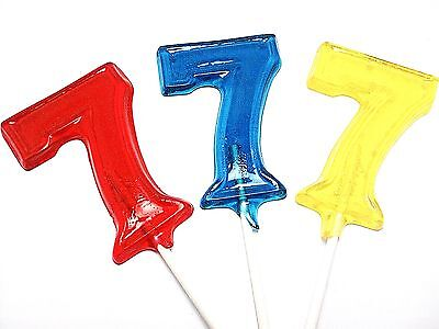 12 LARGE NUMBER LOLLIPOPS ~ HARD CANDY - Large Lollipops