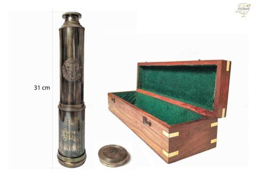 "34"" Antique East India Company 1818 London Brass Tracker Telescope W/ Wood Box"