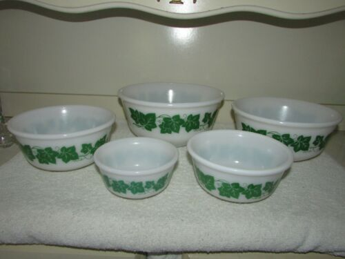 "5 PC. HAZEL ATLAS IVY MIXING BOWL SET - 5, 6, 7, 8, & 9"" BOWLS"