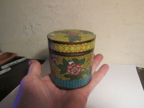 ANTIQUE CHINESE CLOISONNE TEA BOX CADDY