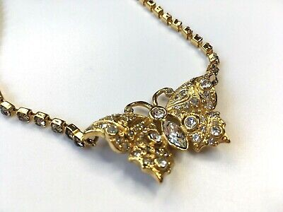 GIANNI VERSACE VINTAGE '90s BUTTERFLY NECKLACE PENDANT CHOKER RHINESTONES ITALY