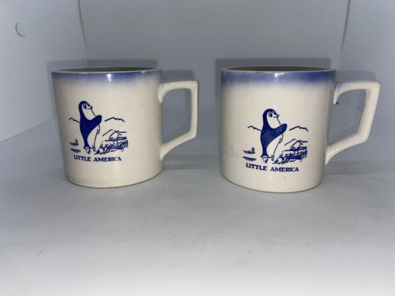 Kelvins Treasures Little America Hotels Penguin Souvenir Ceramic Mug x2