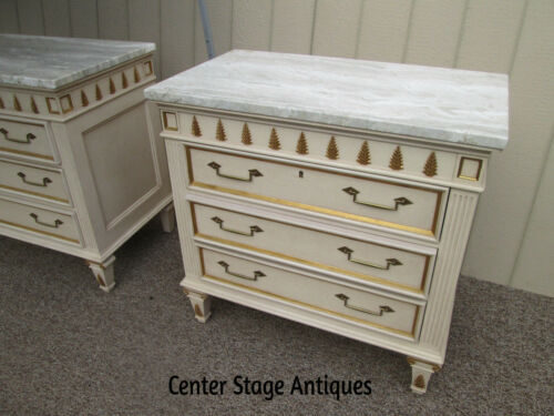 58543 Pair Decorator Marble Top Dresser Bachelor Chest s Nightstand s