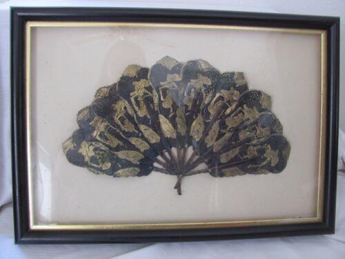 Shadowbox framed black gold antique fan animal hide