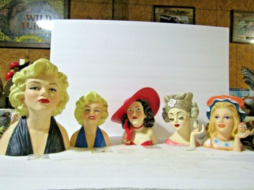 Porcelain Head Vases 10in & 7in Marilyn Monroe, Hedy Lamarr, Conv Carrie U Pick