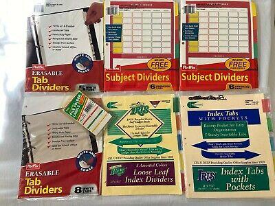 Vintage School Supplies Index Tab Pockets Folder Labels Dividers Filing Lot Of 7