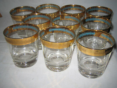 Pattern Gold Trim - Vintage Drinkware Gold Trim & Turquoise Blue Inside Pattern 10 pc LOOK