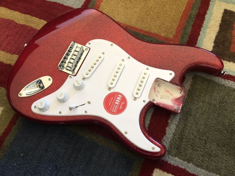 Fender Squier FSR Stratocaster SSS Hardtail Body - Red Sparkle! cosmetic damage