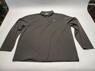 Lacoste Mens Long Sleeve Pullover Grey 1/4 Zip Collar Shirt (Size 7)