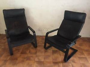 2 X BLACK LEATHER IKEA POANG CHAIRS