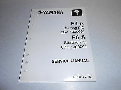 Genuine OEM Yamaha F4 A AND F6 A Outboard Motor Repair & Service Manual