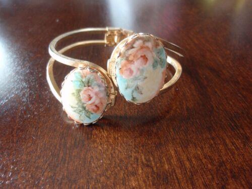 Soft Pink Roses Floral Clamper  Bracelet