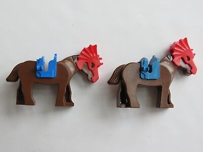 Lego Red Saddle Horse Animals Minifigs Two Clip Style Western Castle