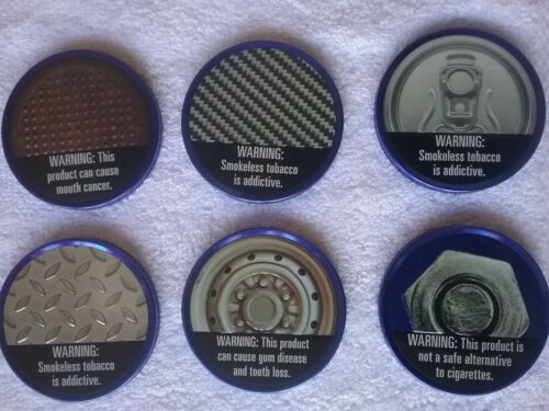 Vintage Collector Set 6 Different Grizzly Long Cut Dip Metal Tin Can Lids NEW
