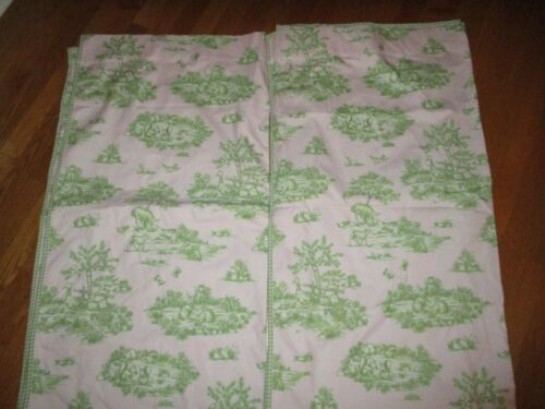 Pair (2) Pottery Barn Kids Pink Green Animals Toile Lined Drapery Panels 44 x 84