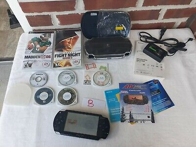 Sony PlayStation PSP 1001 Black Handheld Video Game Console, Games. working +s B