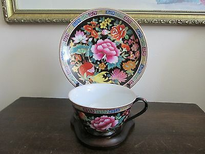 Vintage Chinese Export Porcelain Famille Rose Black Tea Cup And Saucer Gold