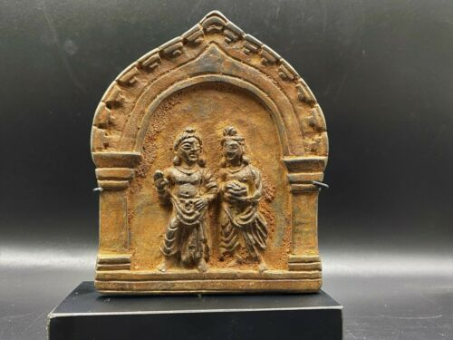 Old Ancient Antique Gandharan Art Bronze Panel With Statues