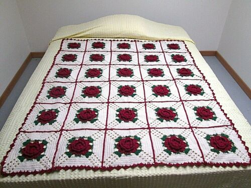 VTG Hand Crocheted 3D Wine Red Rose Pattern Granny Square Afghan Throw 50 X 60