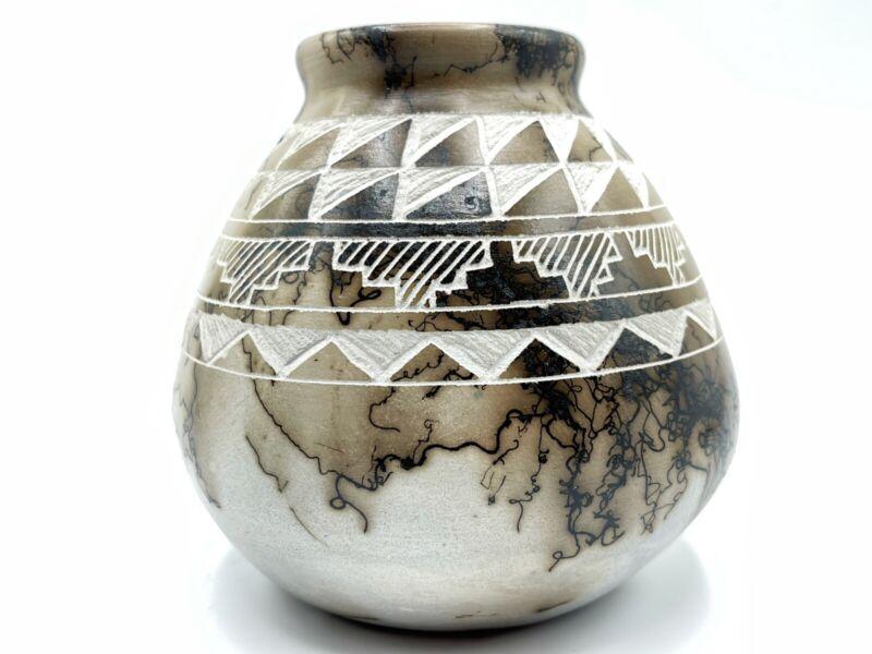 Native American Pottery  Horse Hair Bear Handmade Acoma Indian Vase Gary Louis