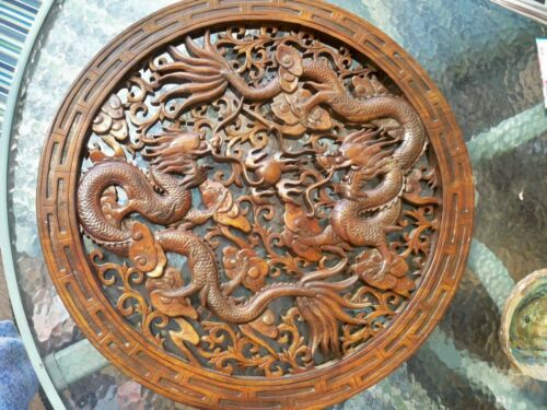 """Vintage Lucky Chinese Dragon Wood Carved Wall Panel Asian Home Decor 22.1/2"""""""