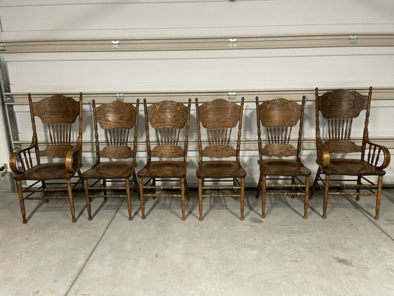 SET 6 Vtg Antique Oak  Pressed Back  Dining Chairs, Ronnoco Corp. 1978