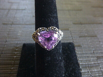 SOLID .925 STERLING PINK TOURMALINE HEART STONE w/MARCASITE SETTING RING (Marcasite Square Setting Ring)