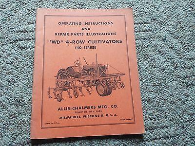 Original Allis Chalmers Operating Manualrepair Parts Wd 4 Row Cultivator Tm-64c