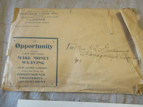 Newcomb Loom Advertising Literature Original Davenport Iowa Stamp Cancel