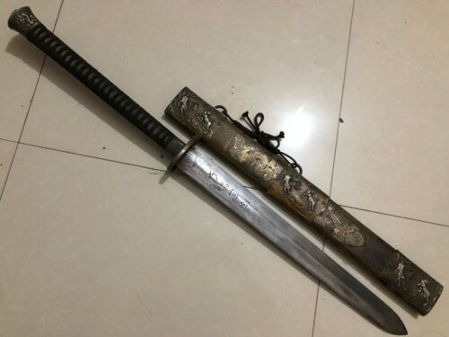 "Collectable Chinese Dragon Tigers ""Jian"" Sword Sharp Sharp Blade Brass Scabbard"