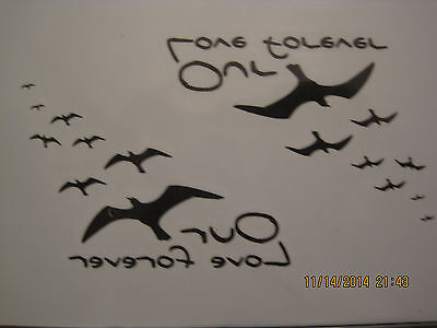"Temporary birds ""love"" Tattoos x3, Finger, Shoulder, Arm, wrist, anklet tattoo"