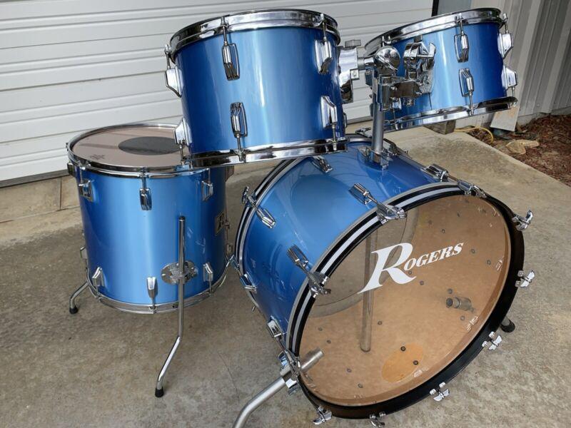 "Vintage Rogers Drums - Rare 24"" Bass Drum - Premier Pearl Blue Mist Maple shell"