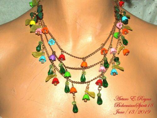 Arturo E.Reyna Buttercup CHARMS Czech Glass beads HANDCRAFTED Bib Necklace