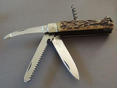 VINTAGE PUMA SOLINGEN GERMANY HANDARBEIT BESTELL STAG LARGE LOCKBACK KNIFE #945