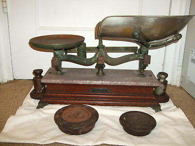 Vintage Henry Troemner Candy Balance Scale w/ weights marble top wood base