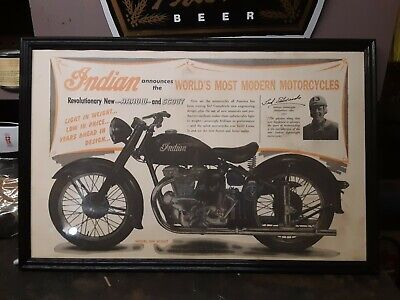Vintage Indian 249 Scout Motorcycle Advertising Poster FRAMED 23X15 $99