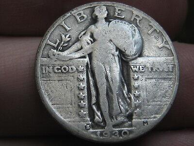 1930 S Silver Standing Liberty Quarter, Fine/VF Details