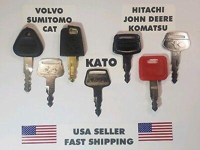 7 Equipment Key Set Cat John Deere Hitachi Komatsu Sumitomo Volvo Kato
