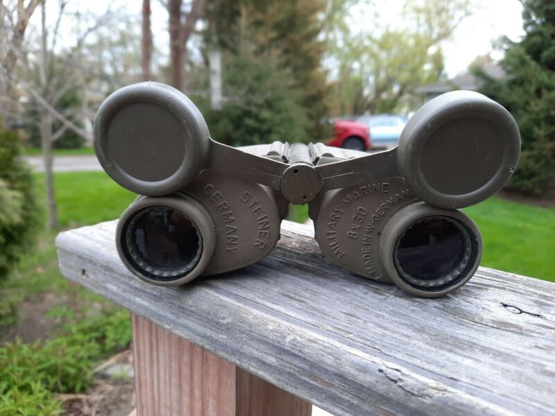 Binoculars- Steiner Military Marine 8X30mm Olive Green German Binoculars
