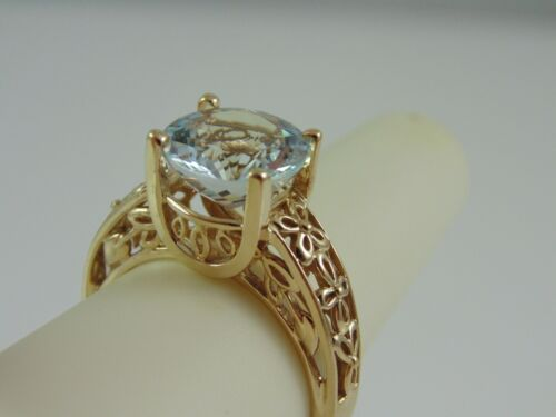 "Big 4.9 Grams Signed ""ZRW"" SOLID 10K YELLOW GOLD BLUE TOPAZ SOLITAIRE RING SZ 8"